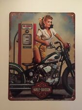 """Antique style 13""""x10"""" sign Harley Davidson motorcycle with gas pump"""