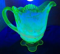 RARE MOSSER OPALESCENT VASELINE BEADED SHELL PATTERN FOOTED PITCHER