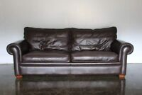 """Divine Duresta """"Garrick"""" 3-Seat Sofa in Dark Brown Leather"""