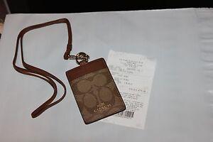Coach Authentic Lanyard ID Case Badge SIGNATURE PVC LOGO GIFT RECEIPT NEW
