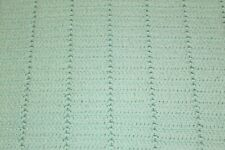 VINTAGE HOMEMADE AFGHAN pale mint green striped knit queen size blanket throw