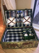 4 Person Green Checked Traditional Wicker Picnic Basket Used