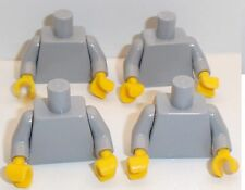 Lego Light Stone Grey Torso's x 4 with Yellow Hands for Miinifigure