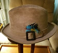Vintage Dobbs 5th Ave Ny Suede Tan w/Feathers Fedora Hat-Sze 6 7/8 Make Offer