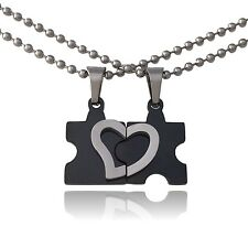 Friendship Heart Puzzle Necklaces (Black and Silver)