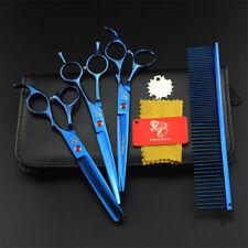 4Pcs Pet Dog Cat Professional Grooming Scissor Shears Clipper Comb Cut Hair Blue
