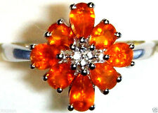 ORANGE MEXICAN FIRE OPAL PEAR FLORAL RING, PLATINUM / SILVER, SIZE 8, 1.00(TCW)