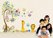 Jungle Zoo Happy Owl Tree Lion Giraffe Wall stickers Decal Art Kids Nursery Room