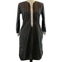 Etoile Isabel Marant Shirt Dress Womens Size 1 Blue White Print Long Sleeve Flaw