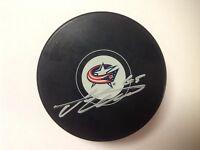 Markus Nutivaara Signed Autographed Columbus Blue Jackets Hockey Puck b