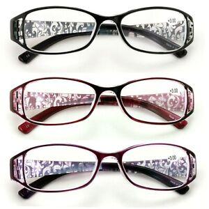 3 Pairs Women Rectangular Floral Readers - Fashion Reading Glasses Flower Bulk