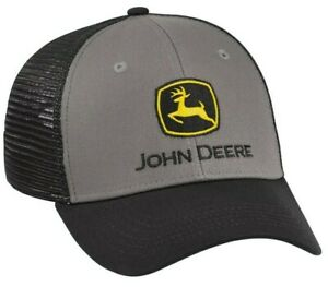 NEW John Deere Gray Twill Black Mesh Cap Low Profile Structured LP69076