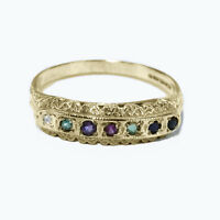 9ct Hallmarked Yellow gold Multi Gemstone DEAREST Half Eternity Ring