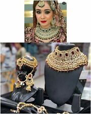 Gold Plated Kundan Bridal Jewelry Necklace Set Bollywood Indian Red Chandbali