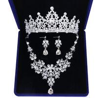 Deartiara Crystal Wedding Jewelry Set Bridal Tiara Necklace Earring Kit