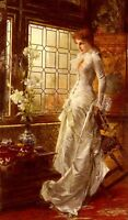 Stunning Oil painting Conrad Kiesel - Nice young lady At The Window with flowers