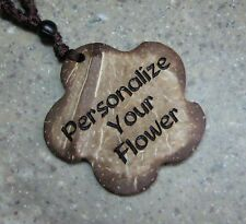 PERSONALIZED Coconut Shell Flower Pendant Necklace 18in