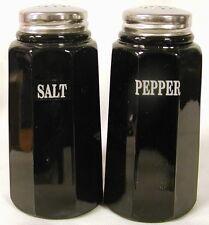 Black Milk Glass Paneled Salt & Pepper Shaker Set w/ SALT & PEPPER