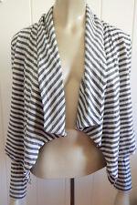 Metalicus grey & white striped cropped stretch bolero/ soft jacket size 8 - 12