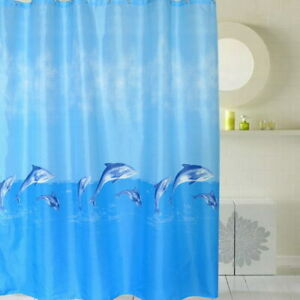 Dolphin Animal Fish Design Modern Bathroom Fabric Polyester Shower Curtain 2s148