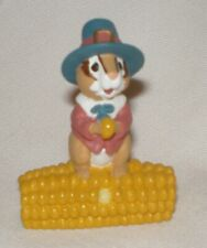 Hallmark Merry Miniature 1995 Thanksgiving Chipmunk Pilgrim on Corn