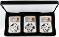 2019 (G) (S) (Y) 10 Yuan 30g .999 Chinese Silver Panda 3 Coin Mint Set NGC MS70