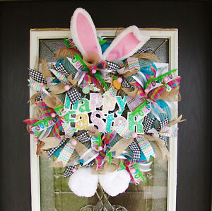 Colorful Glitter Happy Easter Bunny Ears Feet Sign Front Door Wreath, Whimsical