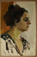Russian Soviet Oil Painting impressionism female portrait woman 1950s