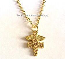 "Gold RN Nurse Caduceus Necklace Plated Pendant Nursing Gift Graduation USA 17"""