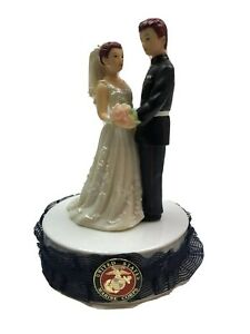 Wedding Cake Topper Red Head  Bride and Groom united states Maries Corps