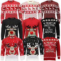 Mens Ladies Christmas Jumper Xmas Rudolf Reindeer Pom Pom Novelty Knitted Winter