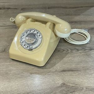 Retro Vintage Cream Ivory Rotary Dial BT Telephone 706 F Converted Working 70s