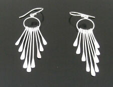 Funky 925 Sterling Silver Multi Strand Drop Earrings with Flattened Ends