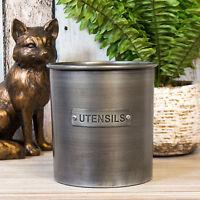 Brushed Metal Industrial Kitchen Utensil Storage Jar Pot Holder Caddy Worktop