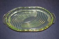 Kleine ovale Glasschale Dekoschale Konfektschale Schale Glas hellgrün Uranglas