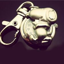Cartoon Dog Key Ring Womens Mens Child Pocket Watches Quartz Accessories Montre