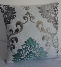 Teal Grey Taupe Jacquard Damask Acanthus Scroll Cushion Cover 45cm