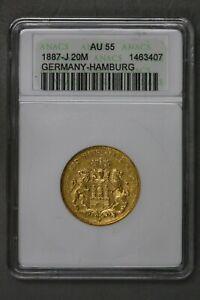 Germany Hamburg 1887 J 20 Mark ANACS AU 55   S459