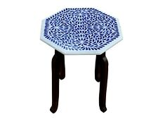 """15""""x15"""" Marble Coffee Table with Inlay Lapis Gemstone Handmade Delicate Inlay"""