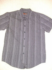 Mens black/grey striped shirt by Topman size small excellent condition