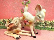 Vtg Christmas Anthropomorphic Pink Ear Woodland Reindeer Set Of Two Trimont Ware