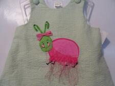 GIRL'S DRESS - SIZE 3T - GREEN CHECK W/PINK & GREEN BUG IN SATIN ON FRONT