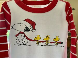 UNISEX HANNA ANDERSSON PEANUTS SNOOPY CHRISTMAS KNIT PAJAMAS SIZE 6-7 YEARS