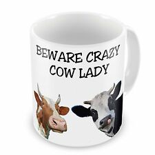 Beware Crazy Cow Lady Funny Novelty Gift Mug