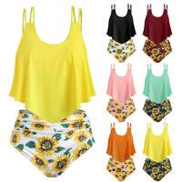 Women Beachwear Bathing Suits Top Ruffled With High Waisted Bottom Bikini Set