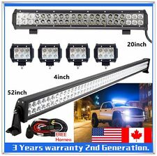 "52inch LED Light Bar + 20"" + 4X 4"" CREE Work Offroad SUV ATV Ford Truck Jeep 4WD"