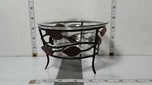Potpourri Bowl; Matte Bronze Wire Leaf w/Clear Glass