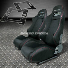 PAIR NRG TYPE-R STYLE BLACK CLOTH RACING SEAT+BRACKET FOR 92-99 BMW E36 2-DR