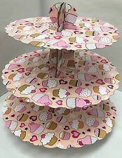 cupcake display stand three tier Cupcake & love heart motif pink & red birthday