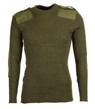 More details for real british army green commando jumper wool crew neck woolie pully xs-xl vgc